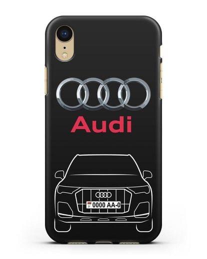 Чехол Audi Q7 с номерным знаком силикон черный для iPhone XR