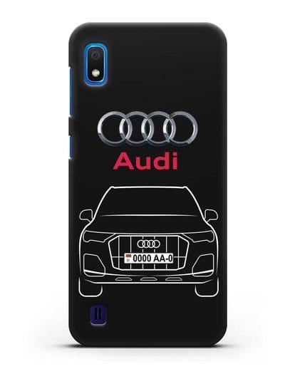 Чехол Audi Q7 с номерным знаком силикон черный для Samsung Galaxy A10 [SM-A105F]