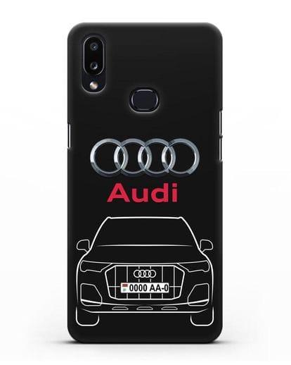 Чехол Audi Q7 с номерным знаком силикон черный для Samsung Galaxy A10s [SM-F107F]