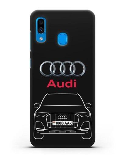 Чехол Audi Q7 с номерным знаком силикон черный для Samsung Galaxy A30 [SM-A305FN]