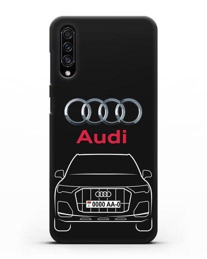 Чехол Audi Q7 с номерным знаком силикон черный для Samsung Galaxy A30s [SM-A307FN]