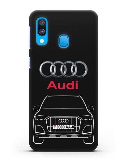 Чехол Audi Q7 с номерным знаком силикон черный для Samsung Galaxy A40 [SM-A405F]