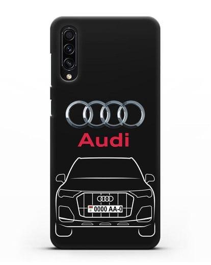 Чехол Audi Q7 с номерным знаком силикон черный для Samsung Galaxy A50s [SM-F507FN]