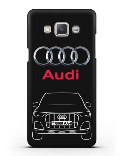 Чехол Audi Q7 с номерным знаком силикон черный для Samsung Galaxy A7 2015 [SM-A700F]
