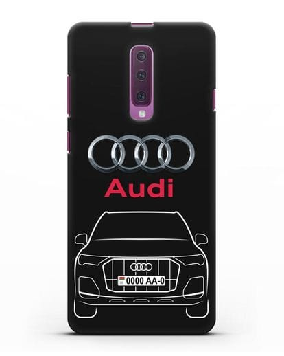 Чехол Audi Q7 с номерным знаком силикон черный для Samsung Galaxy A90 [SM-A908N]