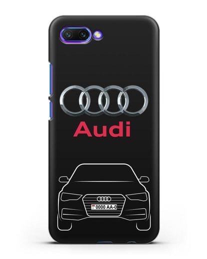 Чехол Audi A4 с номерным знаком силикон черный для Honor 10