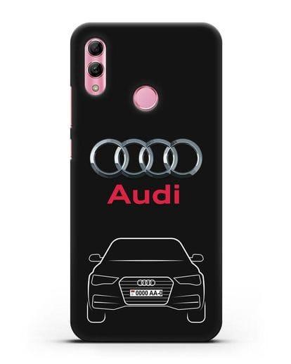 Чехол Audi A4 с номерным знаком силикон черный для Honor 10 Lite