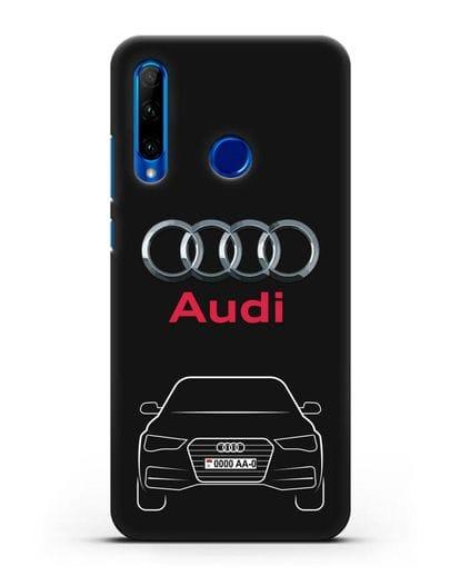 Чехол Audi A4 с номерным знаком силикон черный для Honor 10i