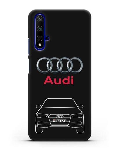 Чехол Audi A4 с номерным знаком силикон черный для Honor 20