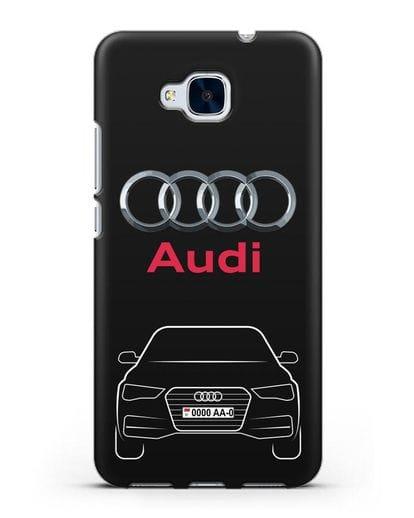 Чехол Audi A4 с номерным знаком силикон черный для Honor 5C