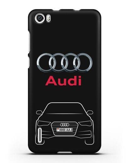 Чехол Audi A4 с номерным знаком силикон черный для Honor 6