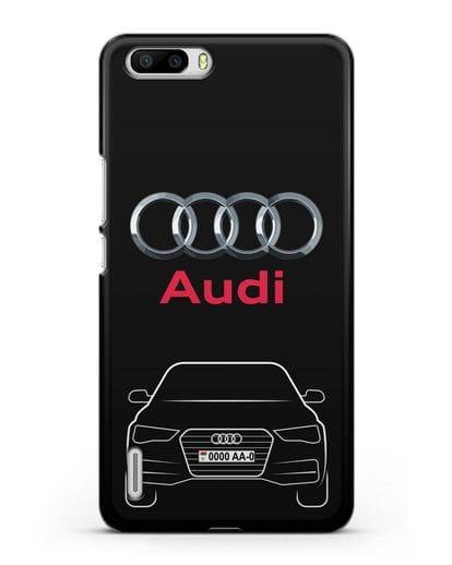 Чехол Audi A4 с номерным знаком силикон черный для Honor 6 Plus