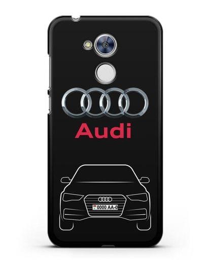 Чехол Audi A4 с номерным знаком силикон черный для Honor 6A