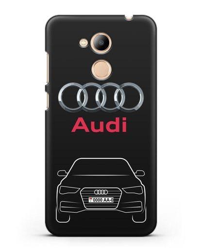 Чехол Audi A4 с номерным знаком силикон черный для Honor 6C Pro