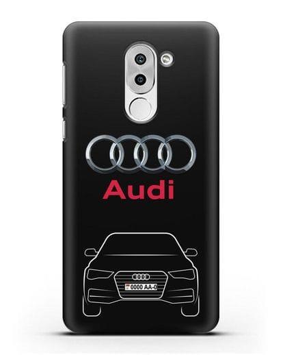 Чехол Audi A4 с номерным знаком силикон черный для Honor 6X