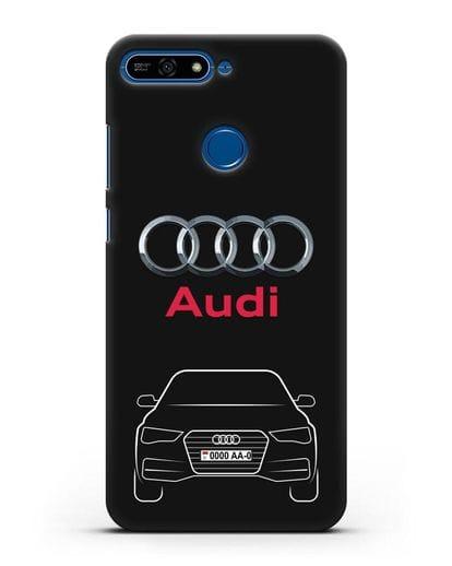 Чехол Audi A4 с номерным знаком силикон черный для Honor 7А Pro