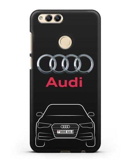 Чехол Audi A4 с номерным знаком силикон черный для Honor 7X