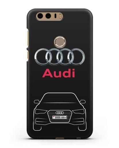 Чехол Audi A4 с номерным знаком силикон черный для Honor 8
