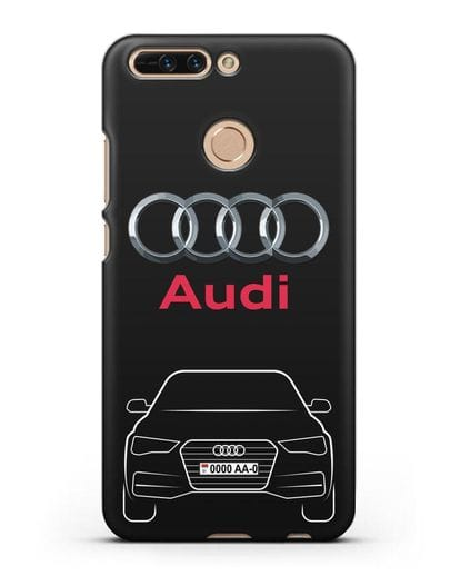 Чехол Audi A4 с номерным знаком силикон черный для Honor 8 Pro