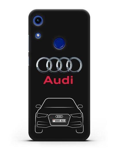 Чехол Audi A4 с номерным знаком силикон черный для Honor 8A