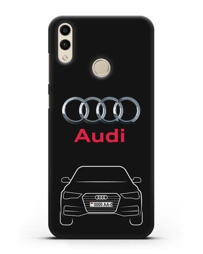 Чехол Audi A4 с номерным знаком силикон черный для Honor 8C
