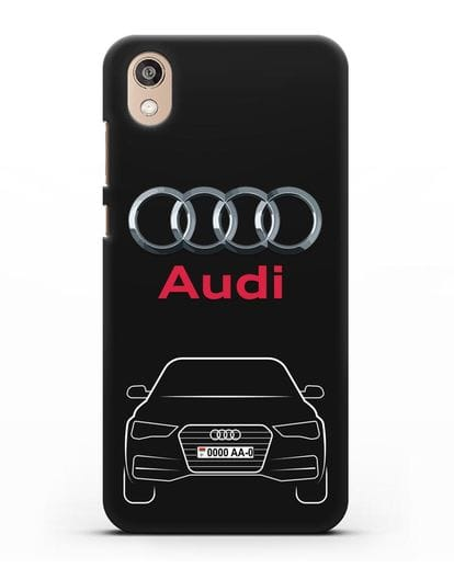 Чехол Audi A4 с номерным знаком силикон черный для Honor 8S