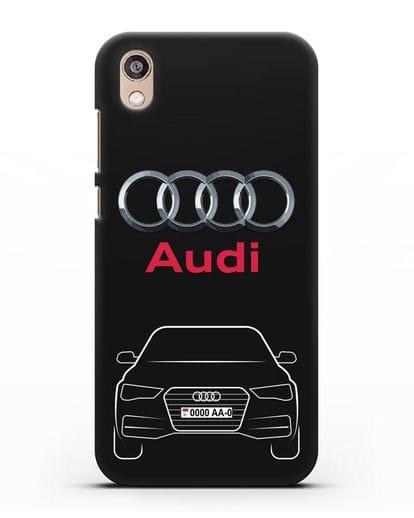 Чехол Audi A4 с номерным знаком силикон черный для Honor 8S Prime