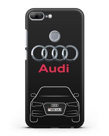 Чехол Audi A4 с номерным знаком силикон черный для Honor 9 Lite