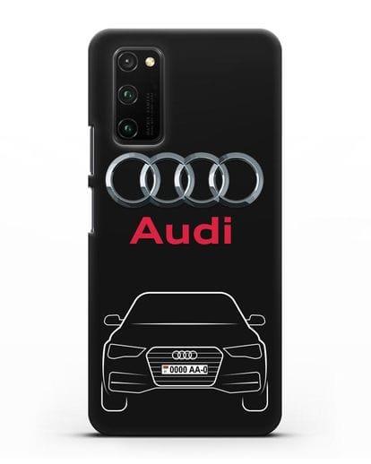 Чехол Audi A4 с номерным знаком силикон черный для Honor View 30 Pro