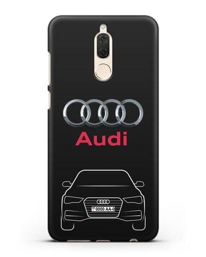 Чехол Audi A4 с номерным знаком силикон черный для Huawei Mate 10 Lite