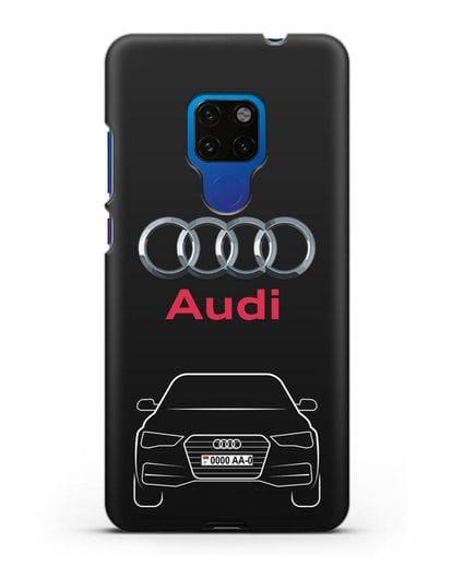 Чехол Audi A4 с номерным знаком силикон черный для Huawei Mate 20
