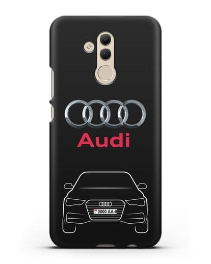 Чехол Audi A4 с номерным знаком силикон черный для Huawei Mate 20 Lite