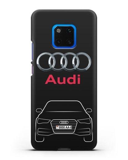Чехол Audi A4 с номерным знаком силикон черный для Huawei Mate 20 Pro