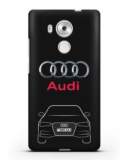 Чехол Audi A4 с номерным знаком силикон черный для Huawei Mate 8