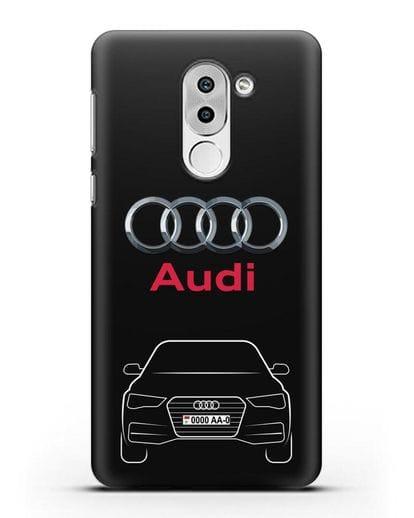 Чехол Audi A4 с номерным знаком силикон черный для Huawei Mate 9 Lite
