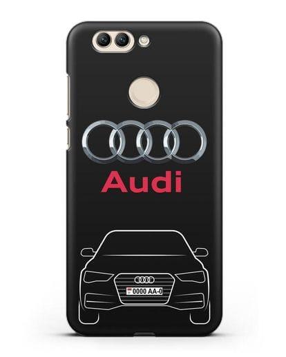 Чехол Audi A4 с номерным знаком силикон черный для Huawei Nova 2 Plus
