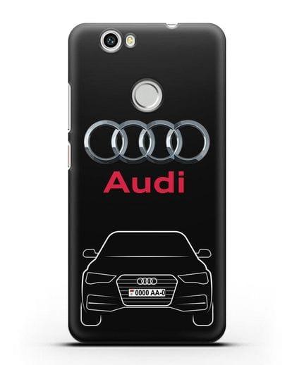 Чехол Audi A4 с номерным знаком силикон черный для Huawei Nova