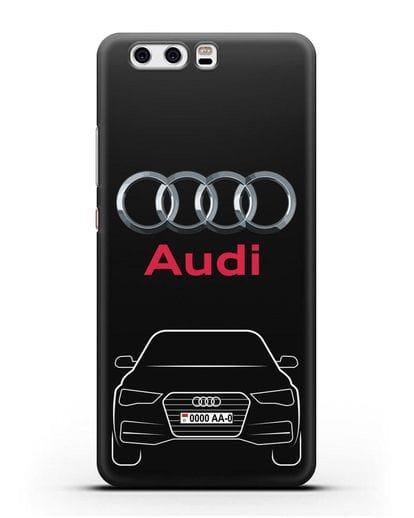 Чехол Audi A4 с номерным знаком силикон черный для Huawei P10 Plus