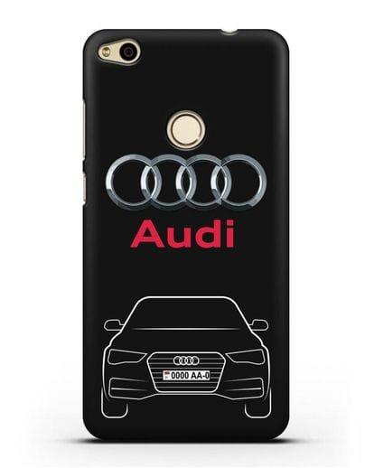 Чехол Audi A4 с номерным знаком силикон черный для Huawei P8 Lite 2017