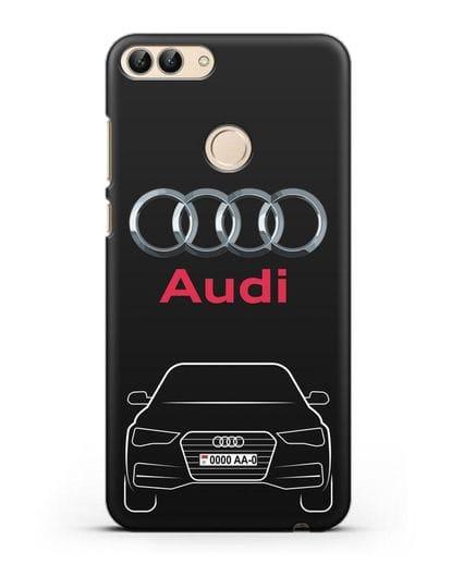 Чехол Audi A4 с номерным знаком силикон черный для Huawei P Smart