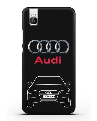 Чехол Audi A4 с номерным знаком силикон черный для Huawei Shot X