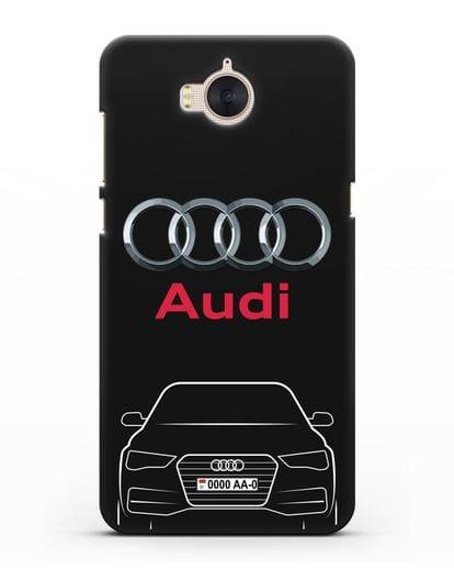 Чехол Audi A4 с номерным знаком силикон черный для Huawei Y5 2017