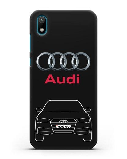 Чехол Audi A4 с номерным знаком силикон черный для Huawei Y5 2019