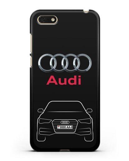 Чехол Audi A4 с номерным знаком силикон черный для Huawei Y5 Prime 2018