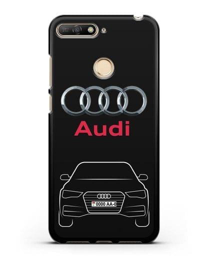 Чехол Audi A4 с номерным знаком силикон черный для Huawei Y6 Prime 2018