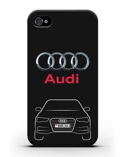 Чехол Audi A4 с номерным знаком силикон черный для iPhone 4/4s