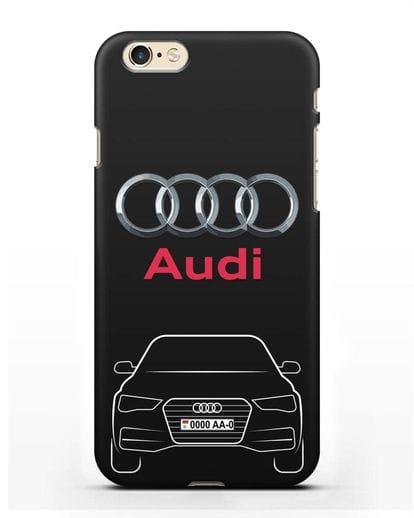 Чехол Audi A4 с номерным знаком силикон черный для iPhone 6s