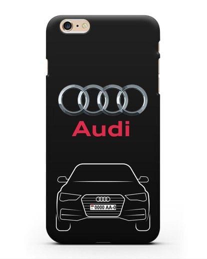Чехол Audi A4 с номерным знаком силикон черный для iPhone 6s Plus