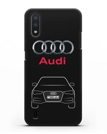Чехол Audi A4 с номерным знаком силикон черный для Samsung Galaxy A01 [SM-A015F]