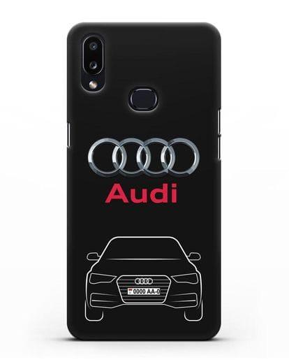 Чехол Audi A4 с номерным знаком силикон черный для Samsung Galaxy A10s [SM-F107F]